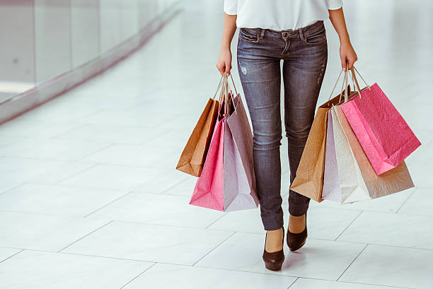 Woman doing shopping stock photo
