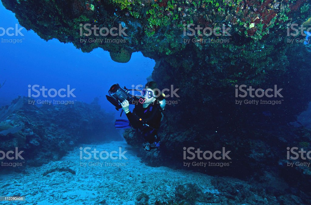 woman doing underwater video stock photo