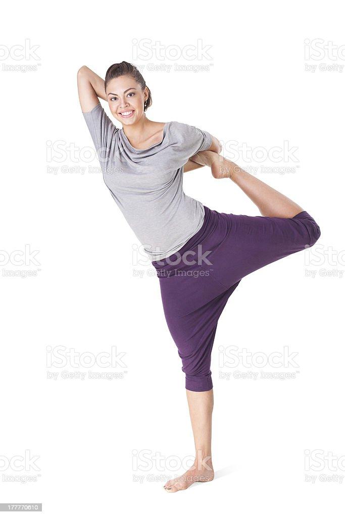 woman doing yoga exercise Natarajasana (Lord of the Dance Pose) royalty-free stock photo