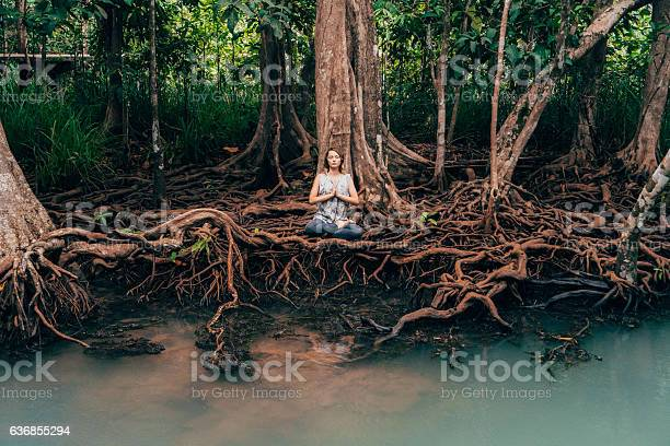 Woman doing yoga near the river in tropical forest picture id636855294?b=1&k=6&m=636855294&s=612x612&h=vqodzqtcqfdk wh2fq8jds lu xtcezza x y 6hc2q=