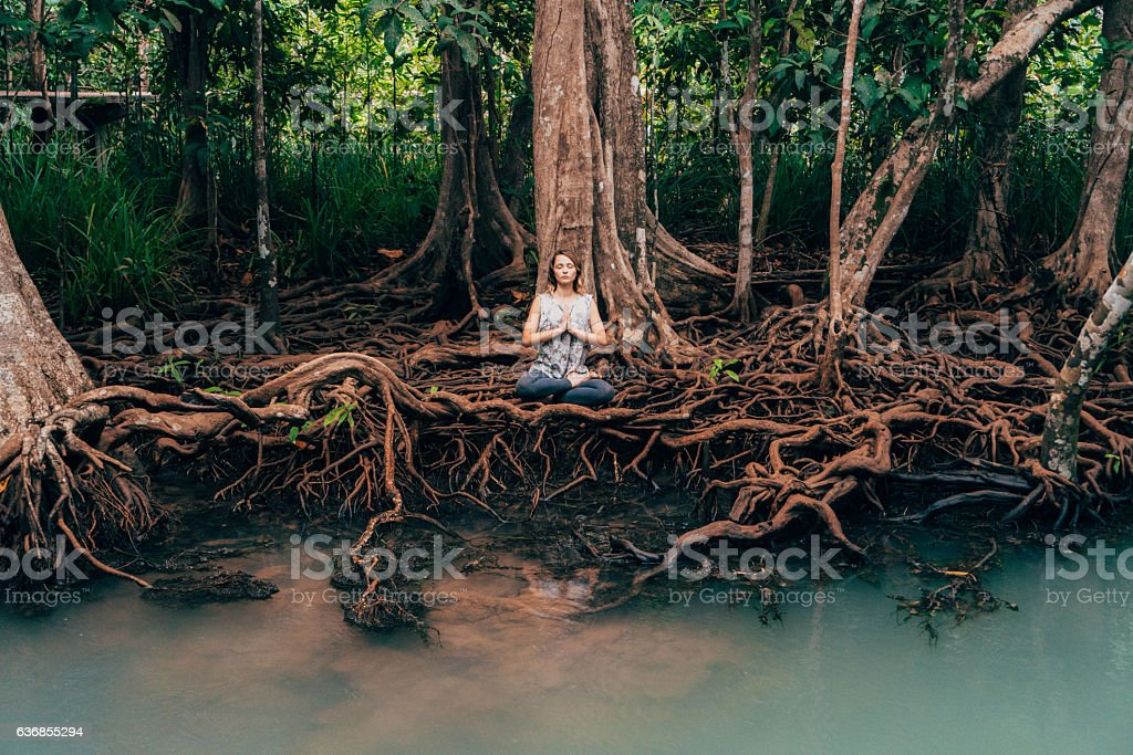 Woman doing yoga near the river in tropical forest stock photo