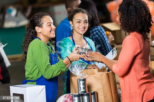 istock Woman donates canned goods to charity 513245786