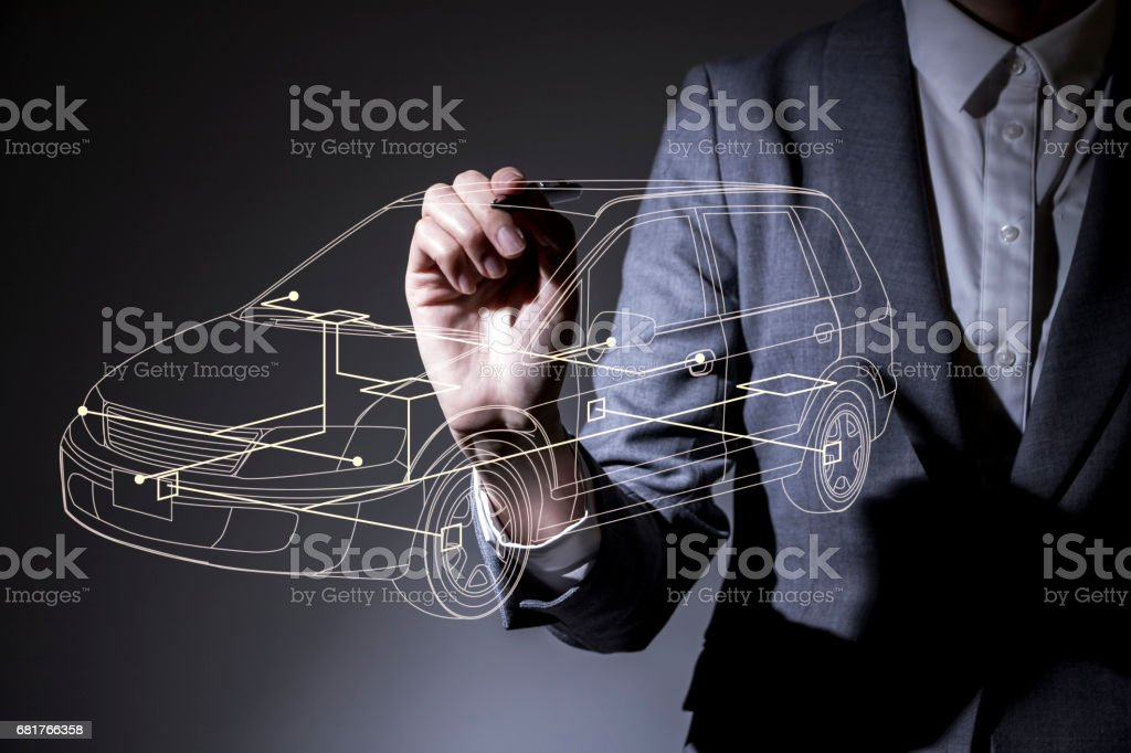 woman drawing a car design in the air, industrial design concept visual stock photo