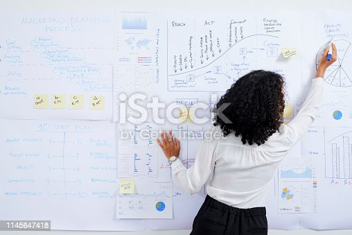 Rear view of businesswoman with curly hair drawing diagram on whiteboard when preparing for presentation