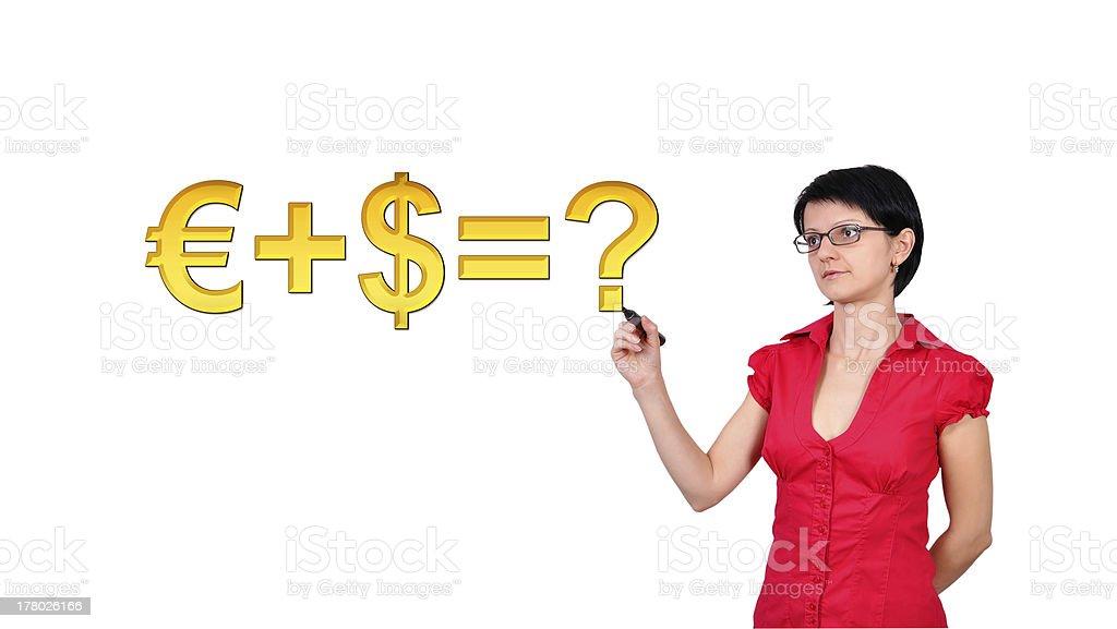 woman drawing formula royalty-free stock photo