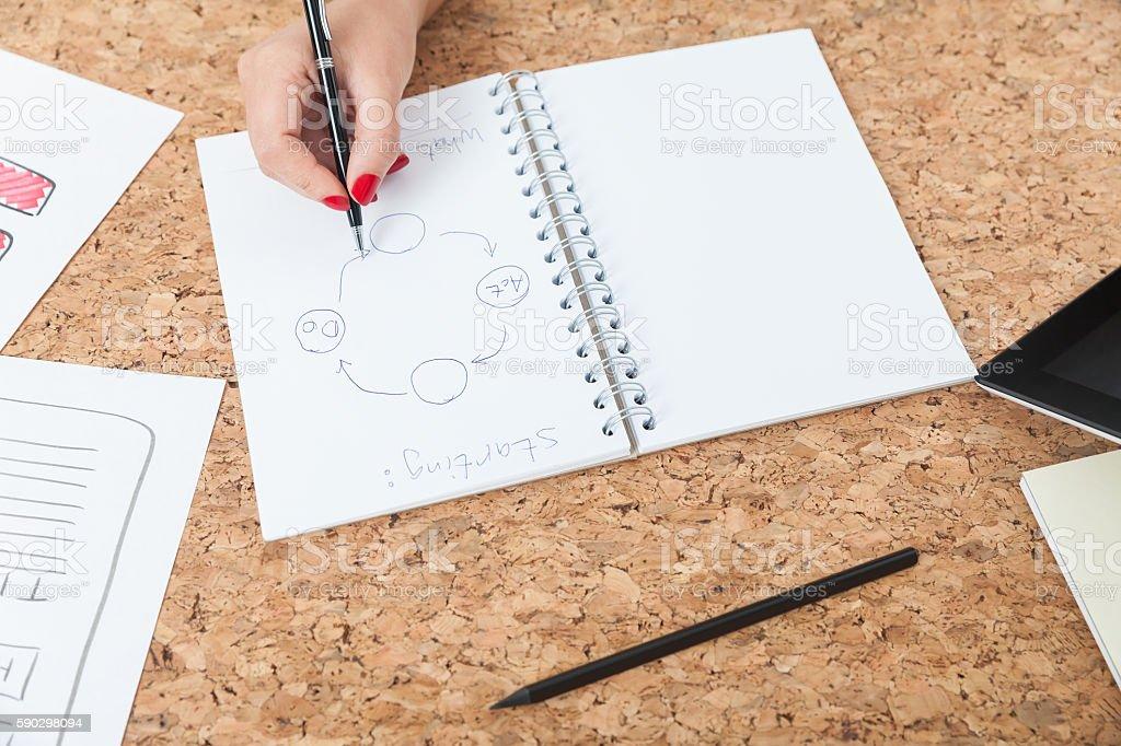 Woman drawing scheme on paper royaltyfri bildbanksbilder