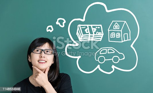 481974106istockphoto Woman dreaming about house and car 1148534946