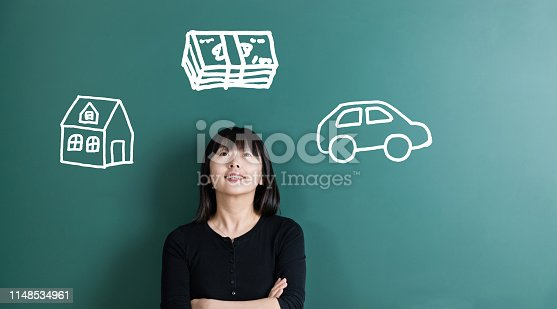 481974106istockphoto Woman dreaming about house and car 1148534961