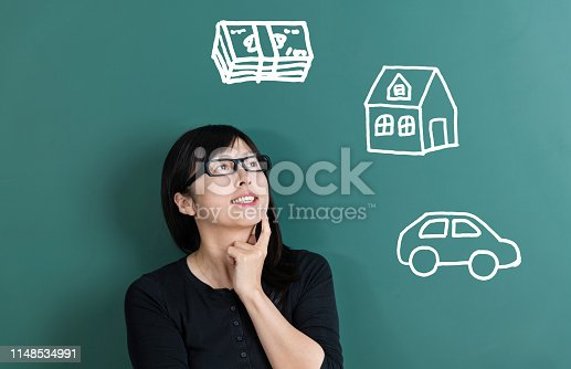 481974106istockphoto Woman dreaming about house and car 1148534991