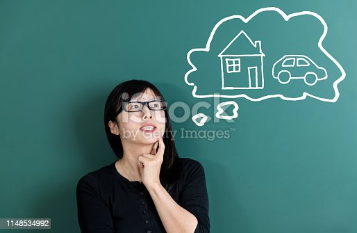 481974106istockphoto Woman dreaming about house and car 1148534992