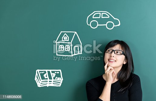 481974106istockphoto Woman dreaming about house and car 1148535005