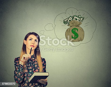 istock Woman dreaming of financial success 576603370