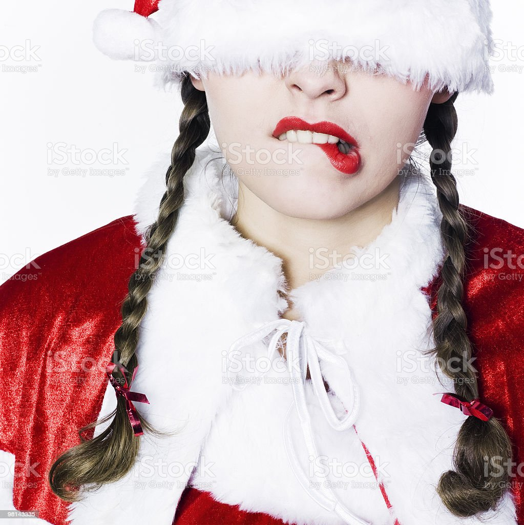 woman dress as santa claus portrait anxious royalty-free stock photo