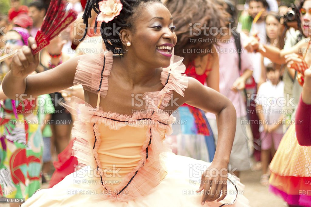 Woman dressed as ballerina in a street parade stock photo