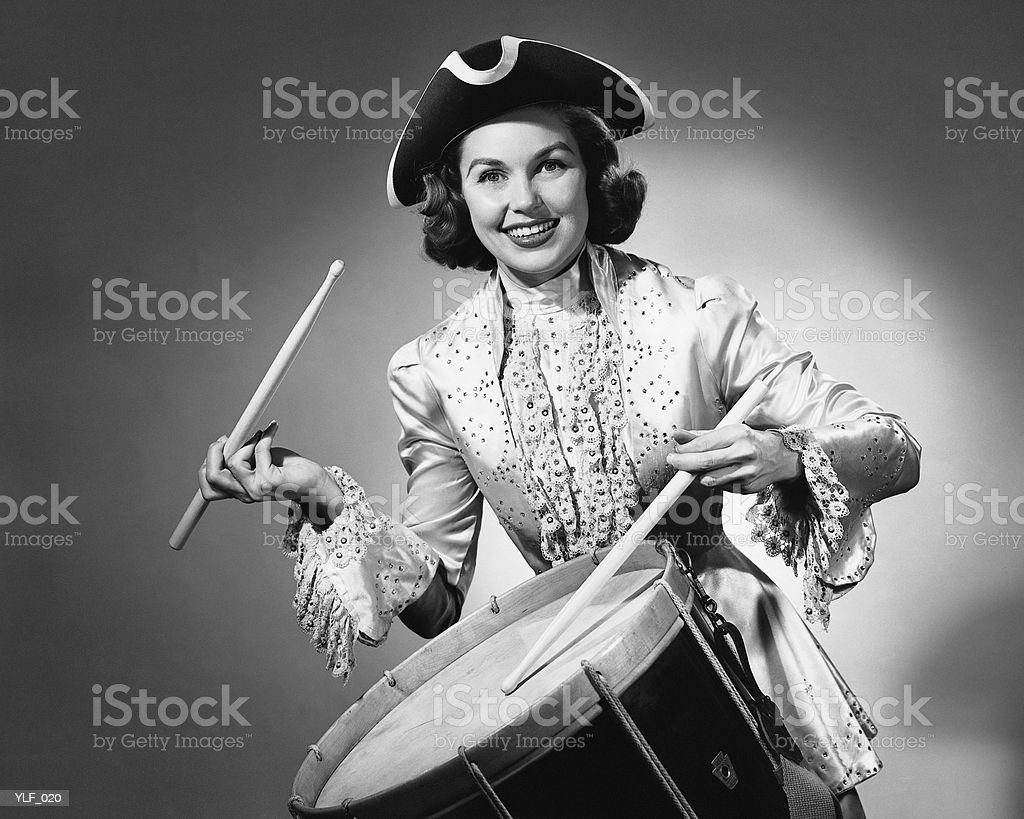 Woman dressed as drummer from American Revolution royalty-free stock photo