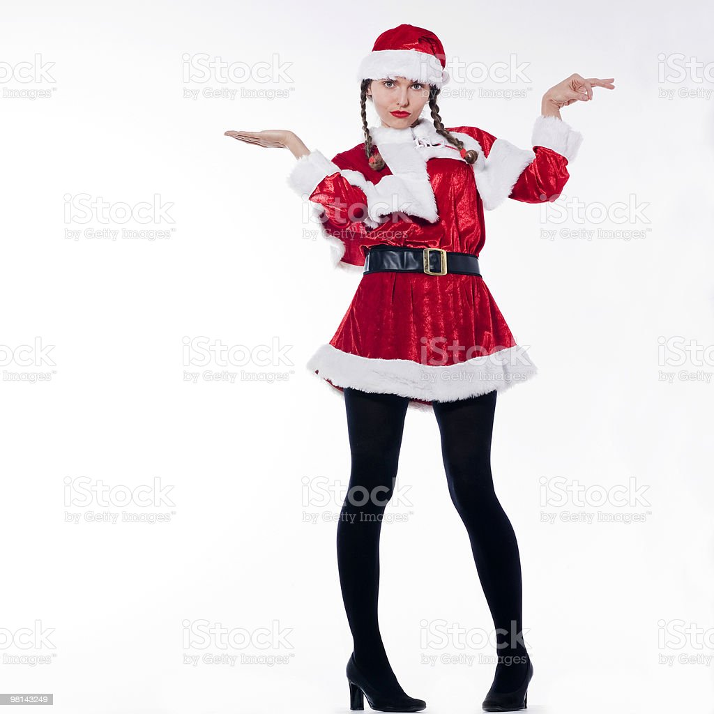 woman dressed as santa claus pouting royalty-free stock photo