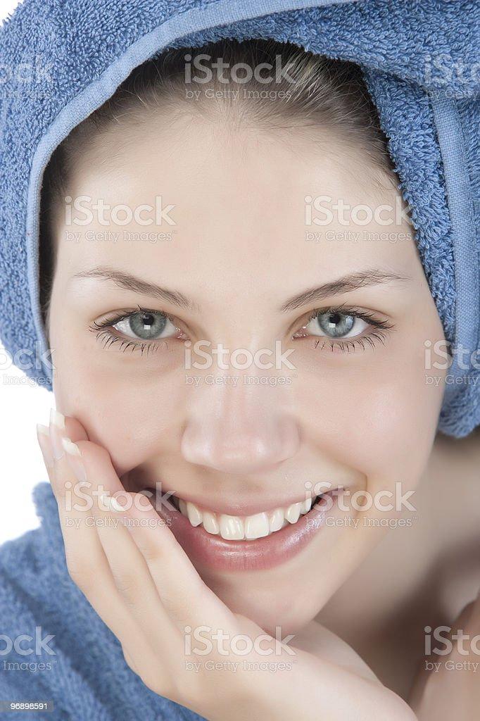 Woman dressed blue bathrobe royalty-free stock photo