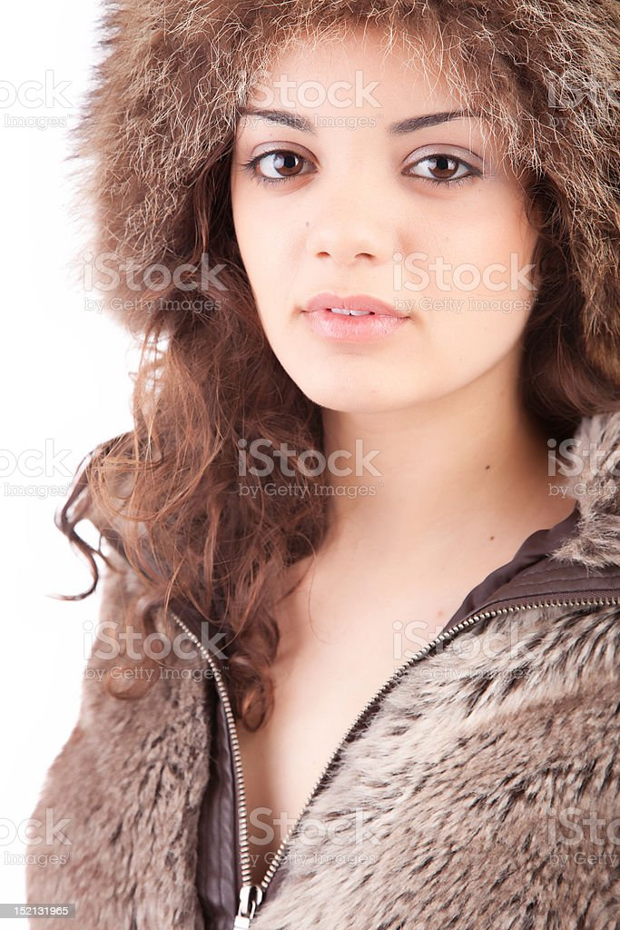 woman dressed for winter stock photo