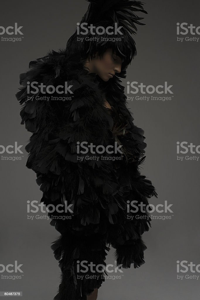 A woman dressed in a feather outfit royalty-free stock photo
