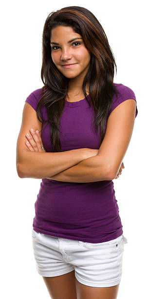 Woman dressed in a purple top smiling at the camera stock photo