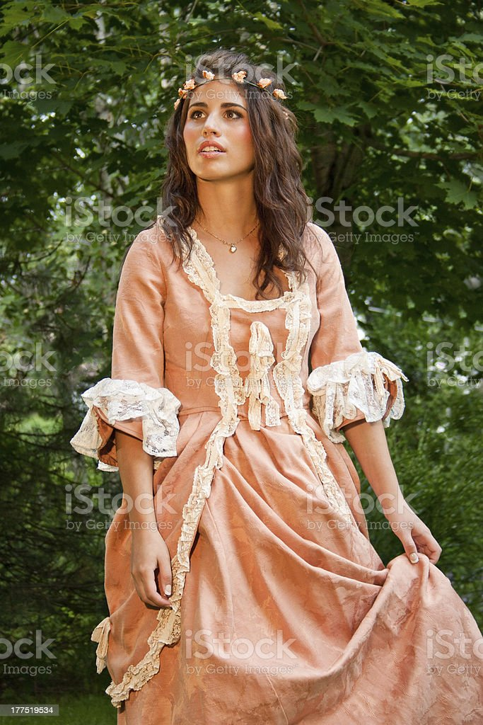 Woman dressed in renaissance period costume stock photo