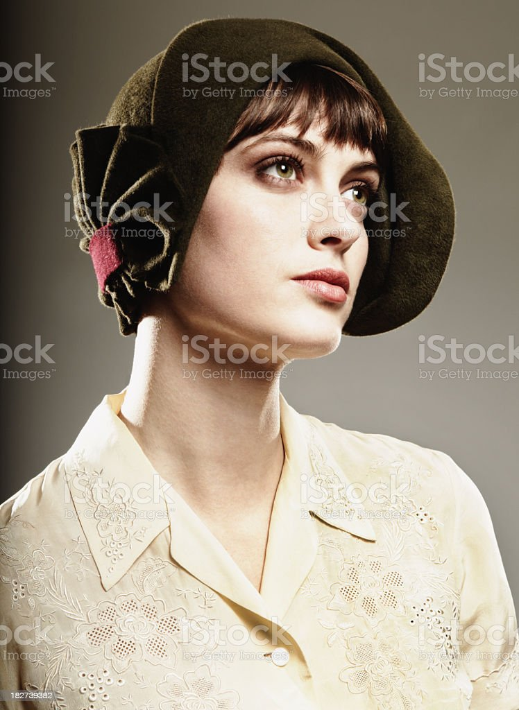 Woman dressed in vintage clothing stock photo