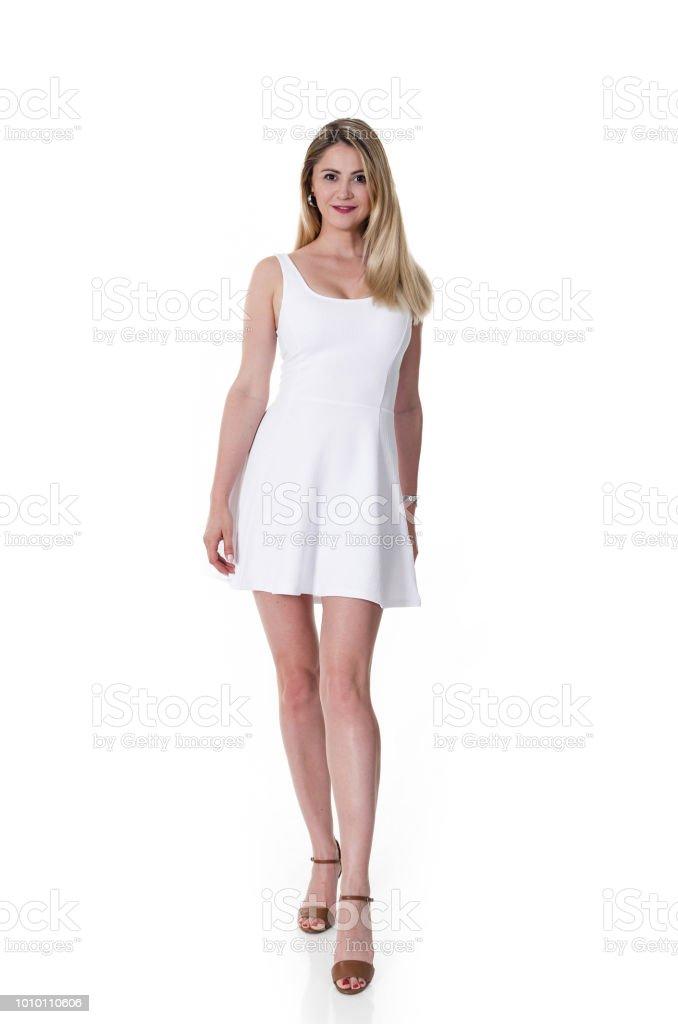 Mujer Vestida De Vestido Blanco Mini Foto De Stock Y Más