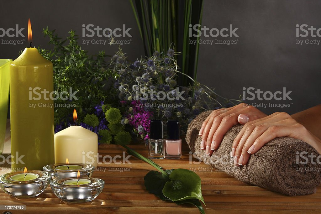 Woman dries nails after polishing royalty-free stock photo