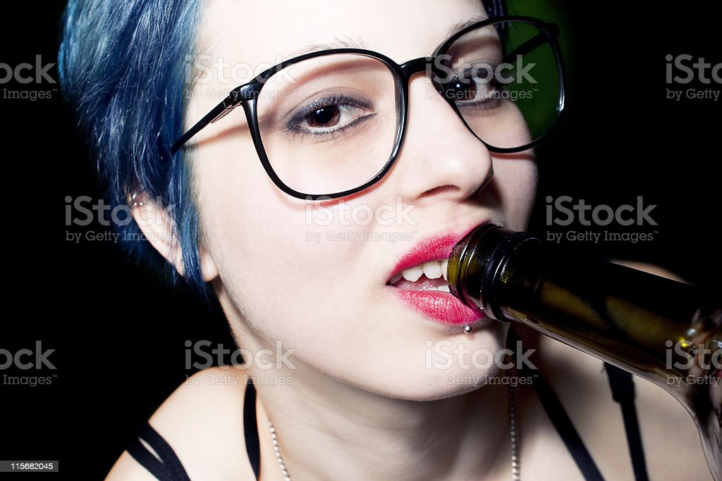 woman drink alcohol an glasses royalty-free stock photo