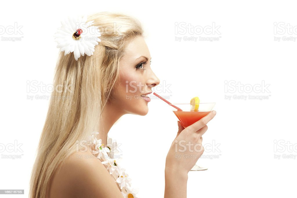 Woman drinking cocktail royalty-free stock photo