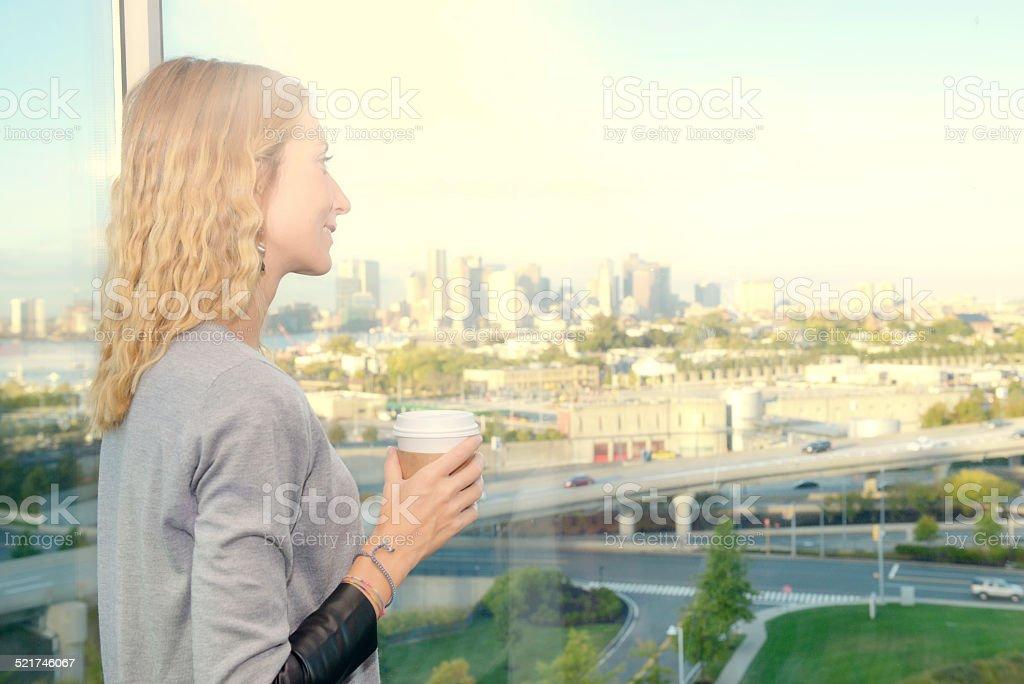 Woman Drinking Coffee, Boston stock photo