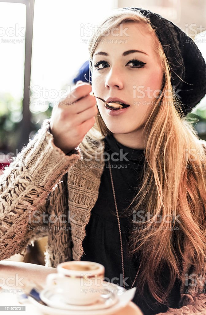 Woman drinking coffee in a Bar royalty-free stock photo