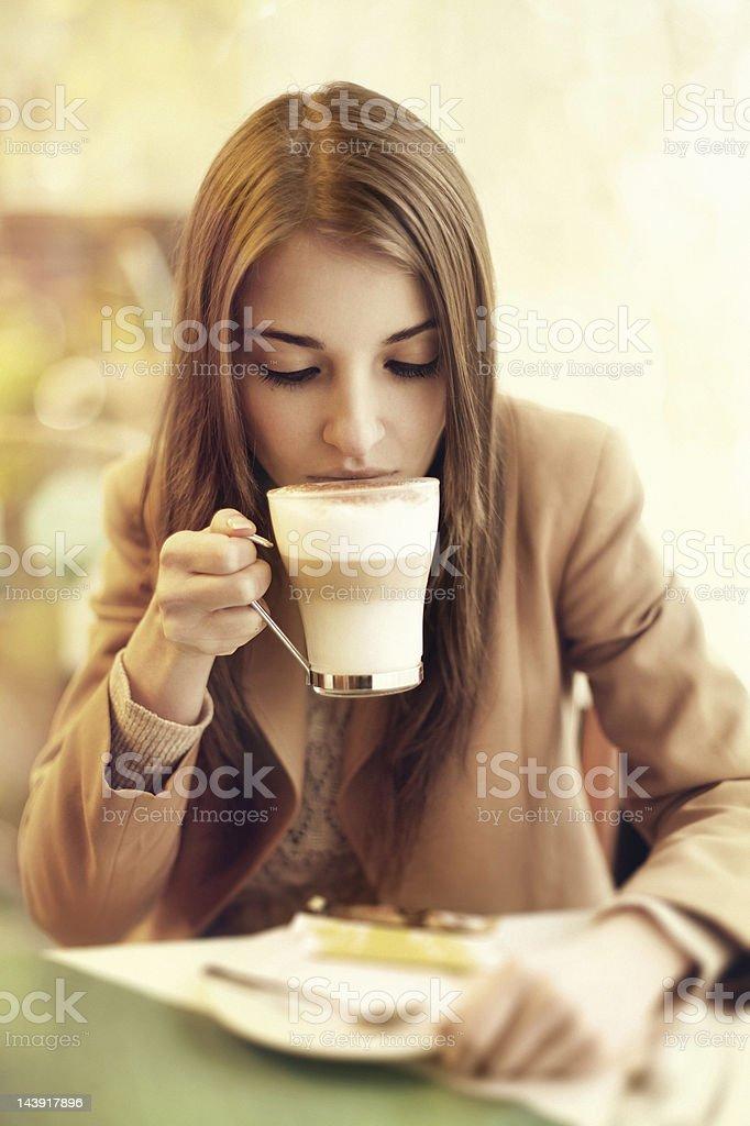 woman drinking coffee latte royalty-free stock photo