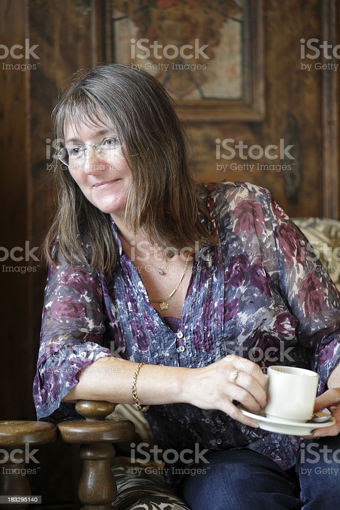 Woman drinking coffee royalty-free stock photo