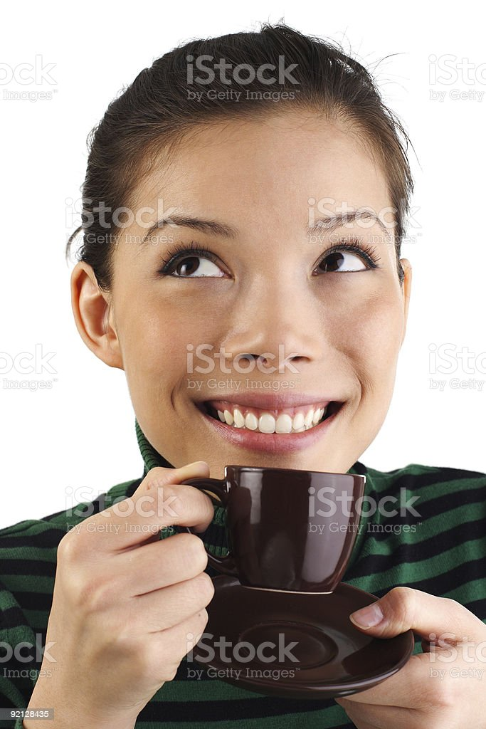 Woman drinking espresso royalty-free stock photo