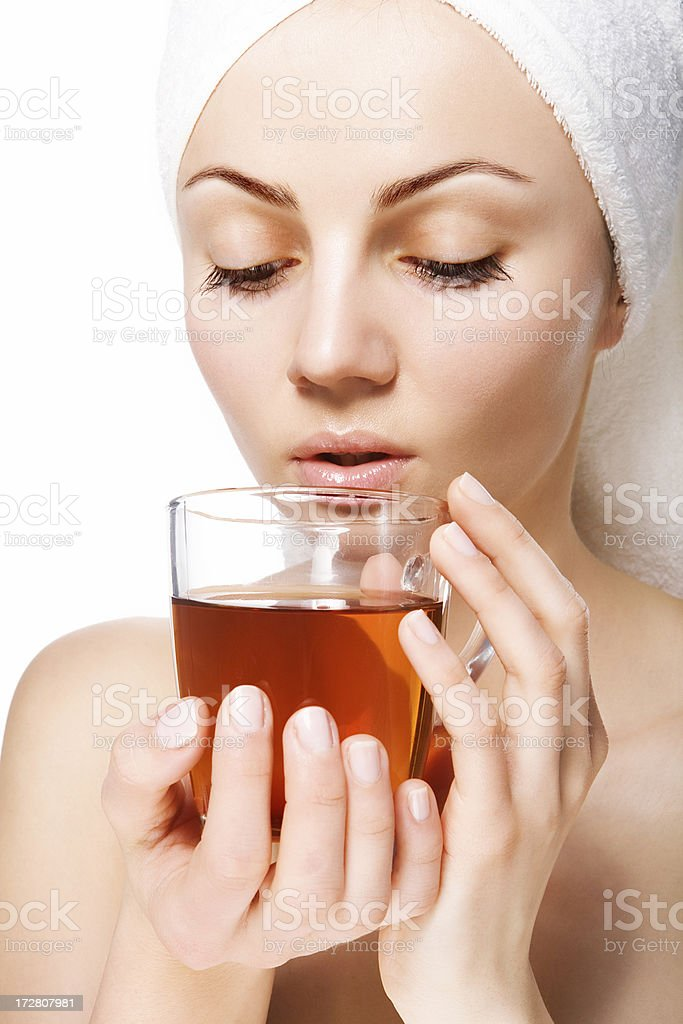 woman drinking hot tea royalty-free stock photo