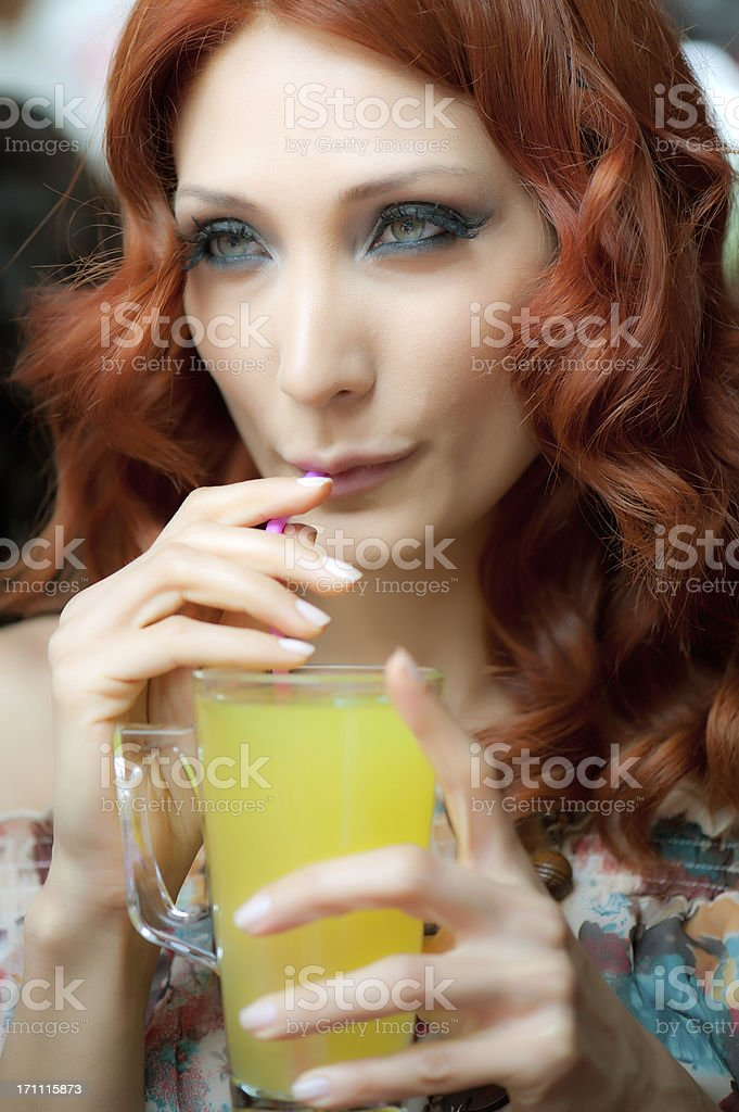 woman drinking lemonade stock photo