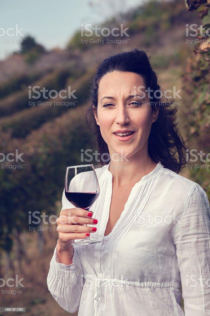 Woman Drinking Wine stock photo