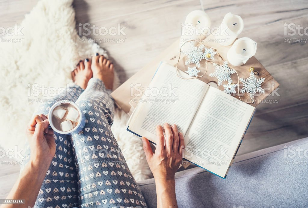 Woman drinks hot chocolate and reads a book in cozy home atmosphere stock photo