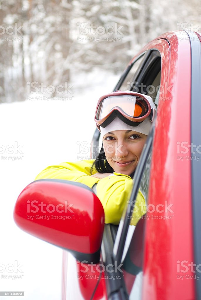 Woman driver, winter portrait royalty-free stock photo