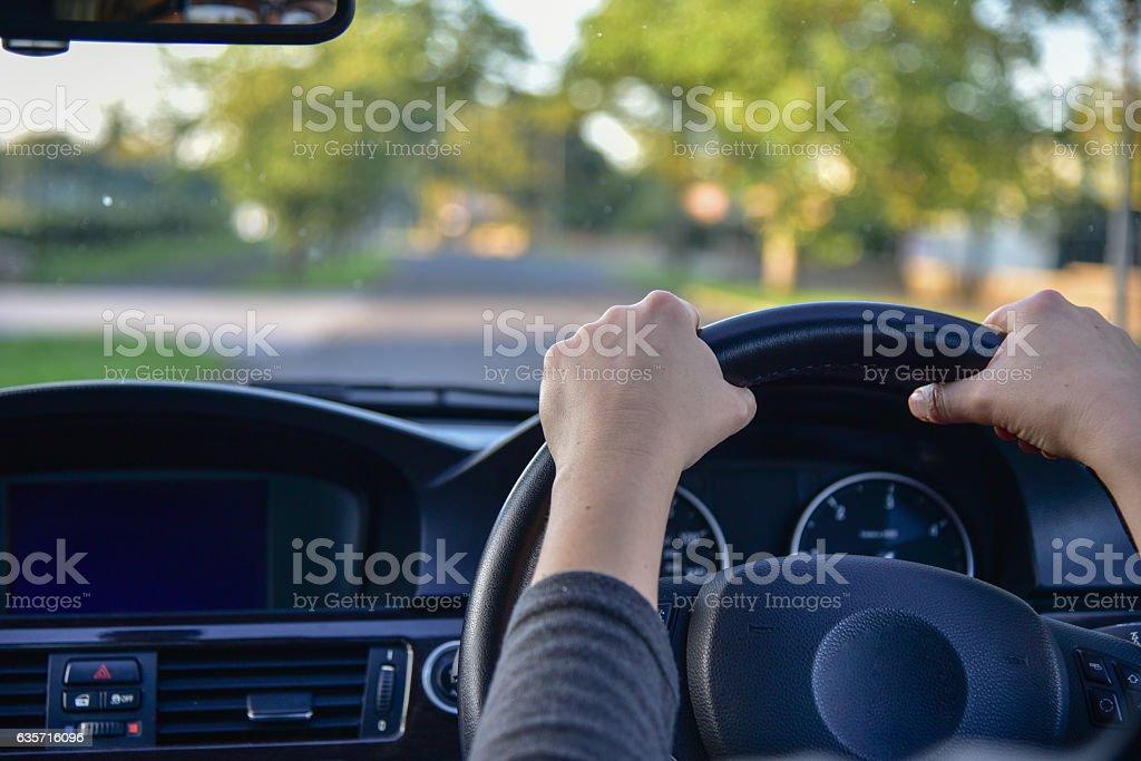 Woman driving a car royalty-free stock photo