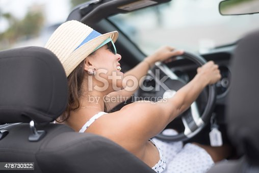 istock Woman driving a convertible car 478730322