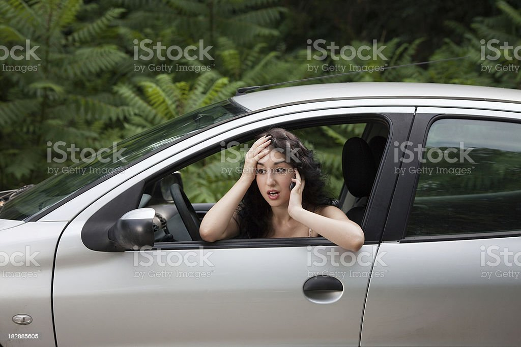 Woman Driving and Talking on the Phone stock photo