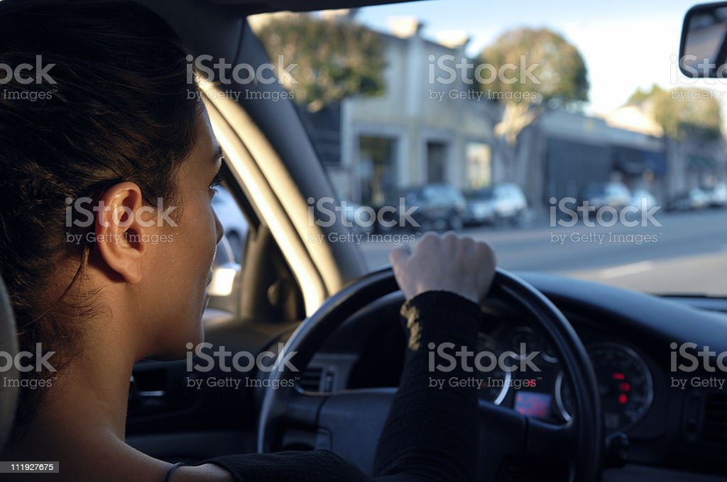 Woman Driving Car Los Angeles Melrose Avenue royalty-free stock photo