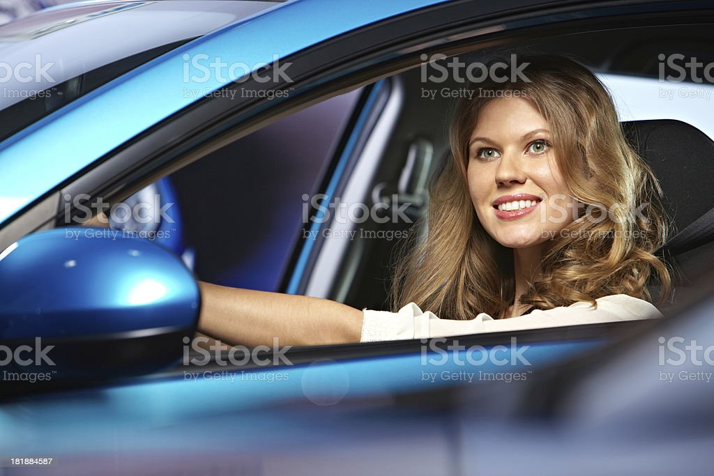Woman driving car royalty-free stock photo