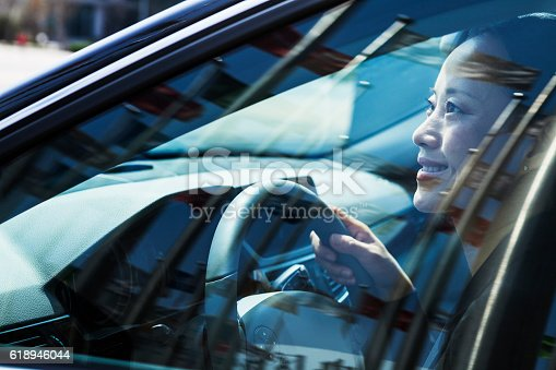 620402800istockphoto Woman driving car with flags reflection in windows 618946044
