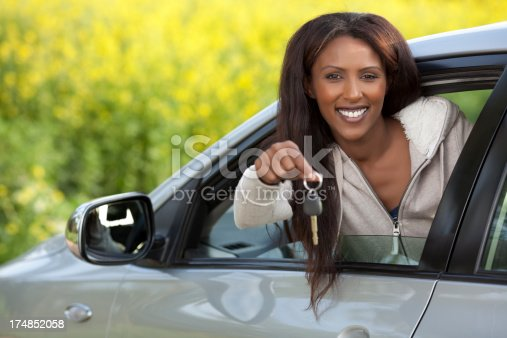 173607342 istock photo Woman driving her new car outdoors. 174852058