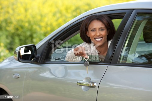 173607342 istock photo Woman driving her new car outdoors. 174854292