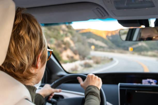 woman driving her new hydrogen car - pila a idrogeno foto e immagini stock
