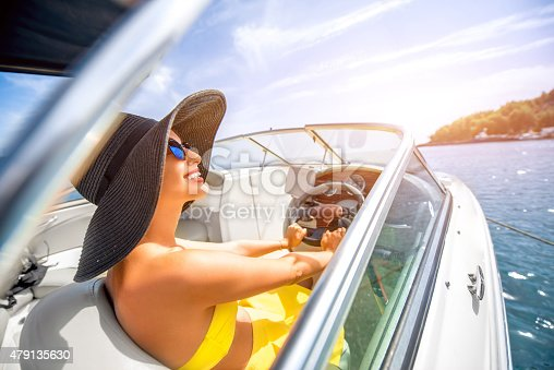 Young and pretty woman in yellow skirt and swimsuit with hat and sunglasses driving luxury yacht in the sea.